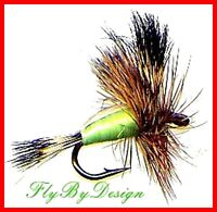 Chartreuse Humpy Fly Fishing Flies -Twelve Flies Choice of Quantity & Hook Size