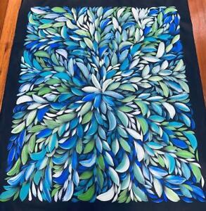 #27 Bush Medicine Leaves (grn/blue)- LOUISE NUMINA : Aboriginal Art : 82x93cm
