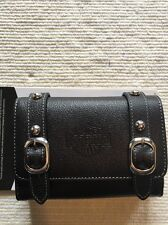Harley Davidson Premium Black Leather Accessory Case With Logo & Accent Buckles