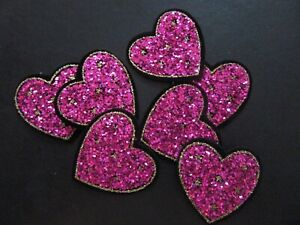 PINK GLITTER HEART IRON ON BADGE SEW ON PATCH EMBROIDERED APPLIQUE X 1