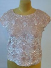 Sequence Fully Beaded Blush Pink Top Lined size 36 Wool Vintage