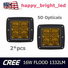 2x 3Inch 16W CREE LED Pod Light Driving Work Fog Light Flood Cube 5D Lens Amber