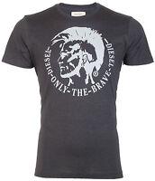 DIESEL Men T-Shirt ACHEL Mohawk Logo CHARCOAL GREY Casual Designer $58 Jeans NWT