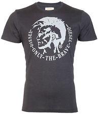 DIESEL Mens S/S T-Shirt ACHEL Indian Head CHARCOAL GREY Designer Jeans M-XL $58