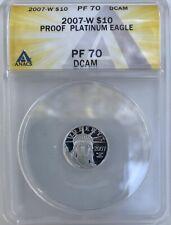 2007-W $10 PLATINUM EAGLE 1/10 Oz STATUE LIBERTY ANACS PF70 PR70