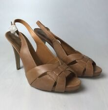 Nine West Brown Leather High Heel Platform Peep Toe Summer Sling Back UK 8