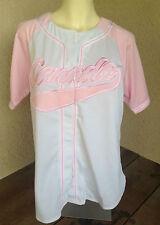 TeePee Ladies Baseball Jersey White Pink 2005 XL Womens Canada Poly Script FUN