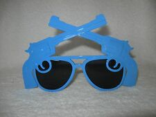 Blue Western Six Shooter Revolver Pistol Sunglasses Glasses Novelty Party
