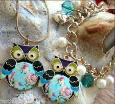 Necklace set Bracelet Dull Gold Vintage Jewellery Christmas Owl shabby chic xx