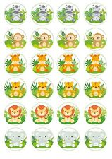 Cupcake Toppers BABY JUNGLE ANIMALS Cupcake size - Australian product