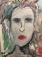 Matt Scalf Acrylic on Paper 9x12 ORIGINAL PAINTING Face Creepy Woman Abstract