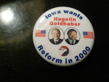 Iowa Reform Party Pin Back Presidential Campaign Button Hagelin Flag Political
