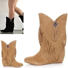 OBSESSION RULES HOPEY Suede Tan Moccasin Fringe Boho Hidden Wedge Boots *SOLDOUT