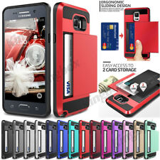Heavy Duty Hybrid Slide Card Pocket Shockproof Hard Case Cover For Samsung Phone