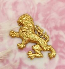 Brass English Griffin Rampant Dragon Lion Stamping - Brass Finding (Fb-6055)