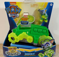 Rocky Mighty Pups CHARGED UP Paw Patrol Deluxe Vehicle Figure Lights Sound