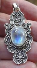 Superb Sterling Silver & Rainbow Moonstone Ottoman Style Antiqued Pendant