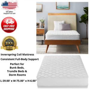 """Twin Size 6"""" Firm Inner Spring Mattress Spring Cover Coil Comfort Bed Dorm Room"""