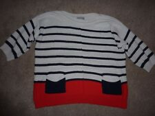 Wallis white and red jumper, striped, size L large