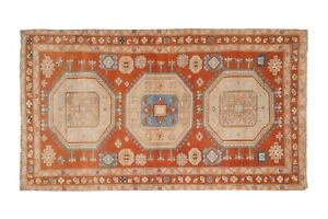 """Vintage Caucasian Rug - Soft Pink and Blue Colors Wool Rug 4'1"""" X 7'2"""""""