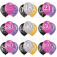 "18th-100th Milestone Happy Birthday Party Helium Quality LATEX Balloons 11"" x6"