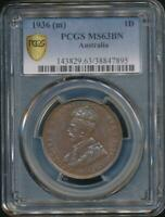 Australia, 1936(m) One Penny, 1d, George V - PCGS MS63BN (Ch-Unc)