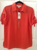 NWT New Michael Kors blouse 1/2 zip top short sleeve burnt orange size S $110