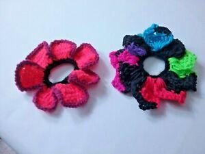 Handmade CROCHET Neon SCRUNCHY FLOWER Pony Tail BUN Hair Holder