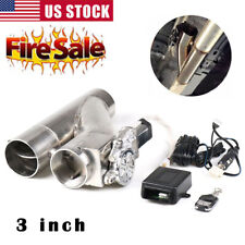 3 inch 76mm Electric Y-Pipe Exhaust Downpipe Cutout E-Cut Out Dual-Valve Remote