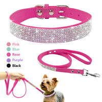 Pet Dog Cat Puppy Doggie Adjustable Collars Bell Buckle Leads Bling Rhinestone