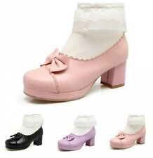 Cute Women Bowknot Zip Up Lolita Block Mid Heel Round Toe Cosplay Ankle Boots D