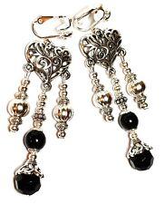 Long Silver Chandelier Black Clip On Earrings Glass Bead Antique Vintage Style