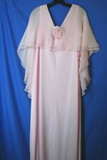 NWT NOS VTG Pink Prom Party Dress CHIFFON OVERLAY Rosette Trim DRAG QUEEN 18/XL