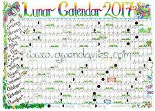 2017 A3 Lunar Moon Wall Chart Pagan Wiccan calendar planner poster astrology