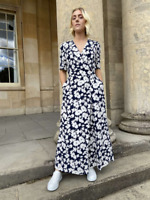 SOMERSET by ALICE TEMPERLEY WRAP JUMPSUIT Navy Blue Floral Wide Crop Leg UK 16