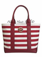 NWT MICHAEL KORS MK FULTON MEDIUM TOTE RED WHITE STRIPED CANVAS SHOULDER BAG