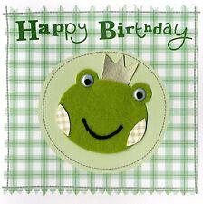 Green Frog Embellished Felt Art Birthday Card Handfinished Greeting Cards