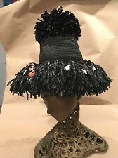 Vintage Straw Hat Italy 1950's 1960's Black Raffia Sequence Women Wide Brim