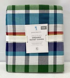 NEW Pottery Barn KIDS Organic Arlo Plaid TWIN Duvet Cover~Multicolor