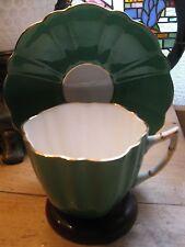 ANTIQUE C & E VICTORIA  ENGLAND  TEA CUP AND SAUCER. GREEN STUNNING A1