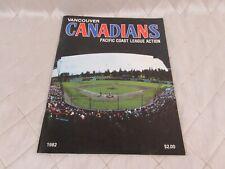 Vancouver Canadians Baseball 1982 Program Schedule Booklet Pacific Coast League
