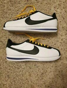 NEW Nike Cortez Leather Shoes White/Yellow-Black BV2527-100 Men's Size 10