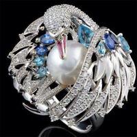 Luxurious Pearl 925 Silver Blue Topaz Bird Animal Fashion Women Ring Size 6-10