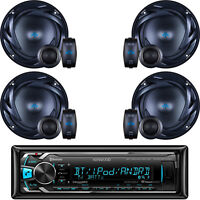 "Kenwood Car Bluetooth USB AUX Radio , 4- 6.5"" 300 Watts 2-Way Component Speakers"