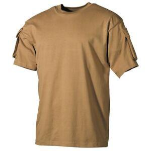 COYOTE US ARMY MILITARY SHORT SLEEVE T SHIRT COMBAT STYLE sleeve pockets SM-XXXL