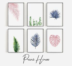 Modern Living Room Botanical Leaves Watercolour Fern Wall Art Prints Home Décor