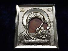 "ORTHODOX RUSSIAN ICON - VIRGIN OF KAZAN MARY,brass oklad2,4"" x 2,8""/60mm x 70mm/"