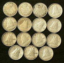 1929 to 1950 Canada 10 Cents Lot of 15 Silver #6423