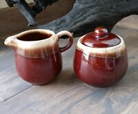 VINTAGE MCCOY POTTERY BROWN DRIP CREAMER AND SUGAR # 7020