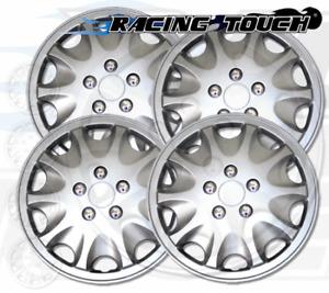 "Wheel Cover Replacement Hubcaps 15"" Inch Metallic Silver Hub Cap 4pcs Set #028A"